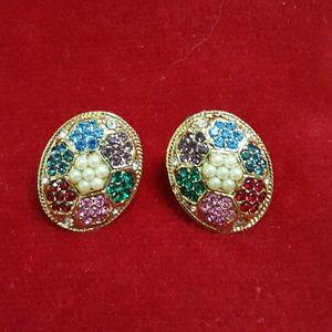 Jewelry - ❤3 for $15! FLower Power rainbow crystal earrings